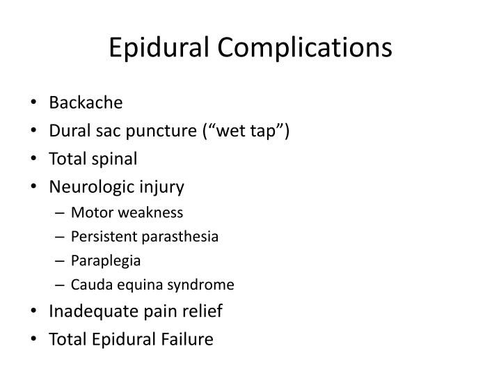 Epidural Complications