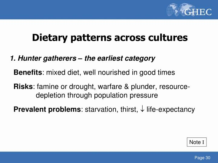 Dietary patterns across cultures
