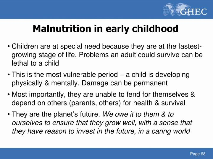Malnutrition in early childhood