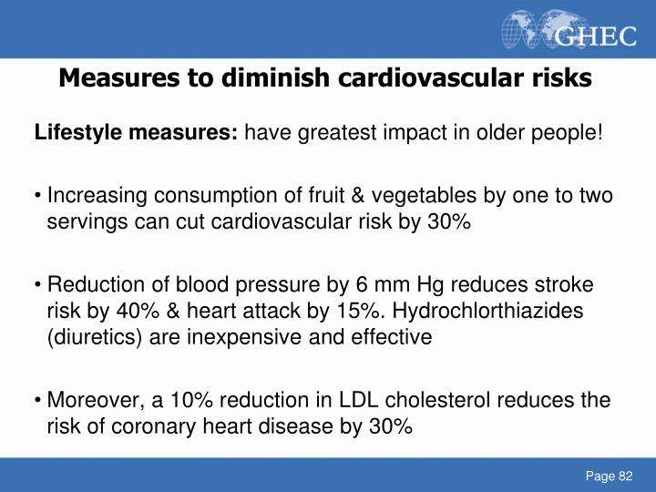 Measures to diminish cardiovascular risks