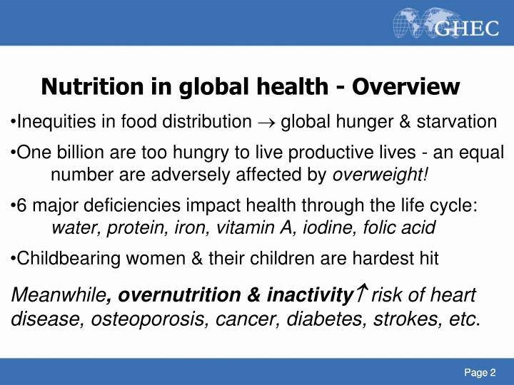 N utrition in global health overview