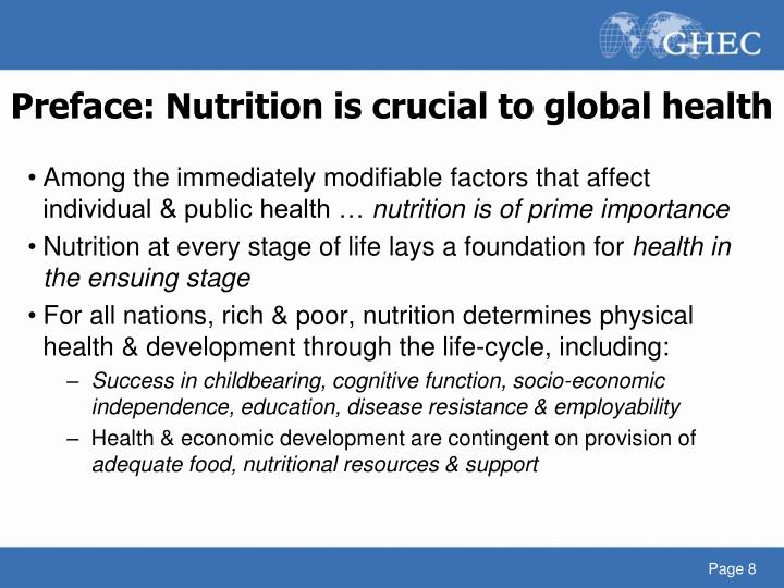 Preface: Nutrition is crucial to global health