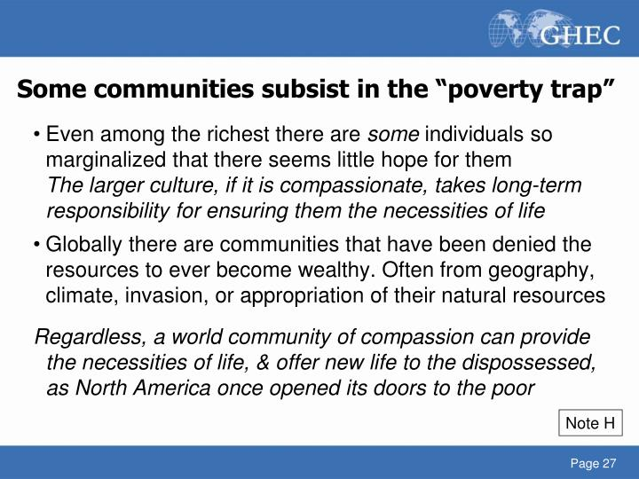"Some communities subsist in the ""poverty trap"""