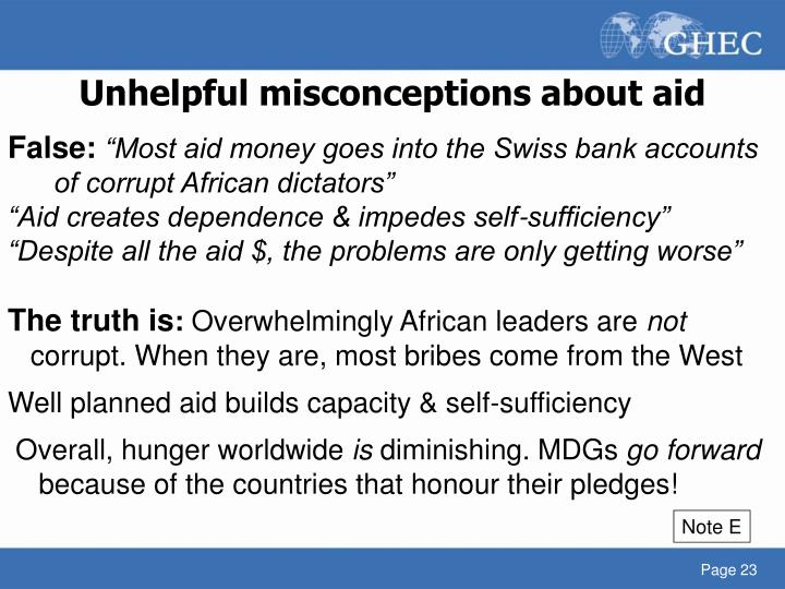 Unhelpful misconceptions about aid