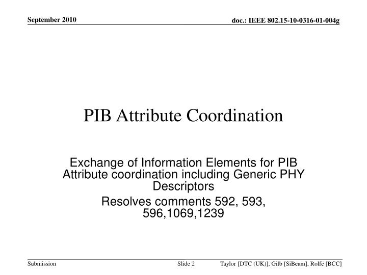 Exchange of Information Elements for PIB Attribute coordination including Generic PHY Descriptors