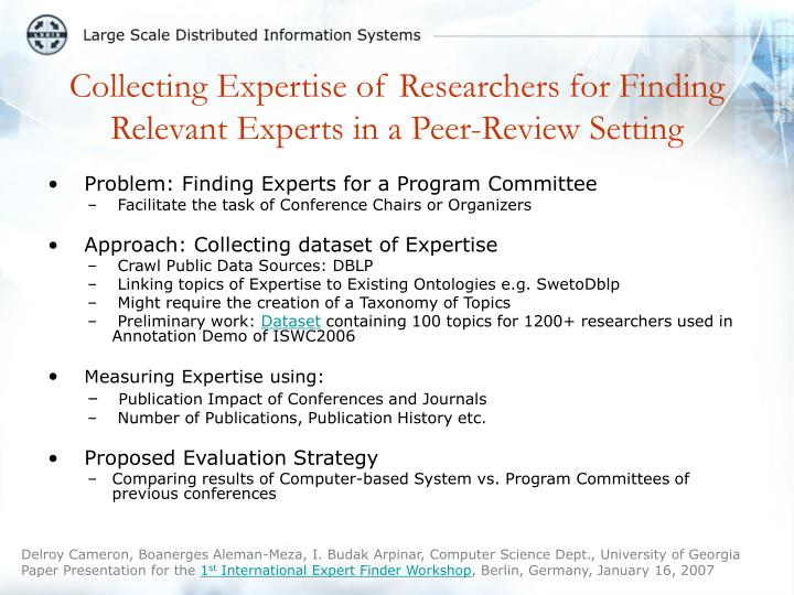 collecting expertise of researchers for finding relevant experts in a peer review setting