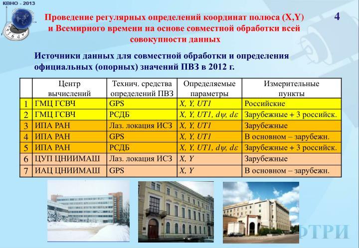 Проведение регулярных определений координат полюса (