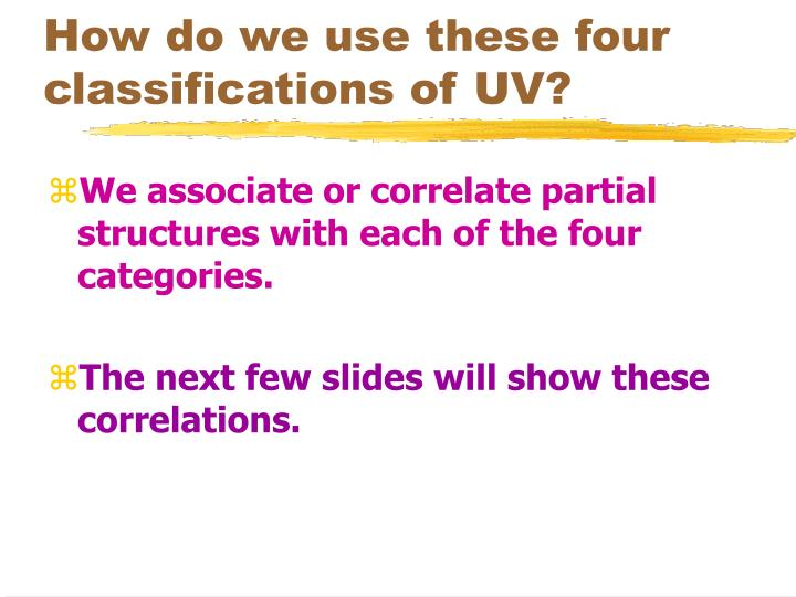 How do we use these four classifications of UV?