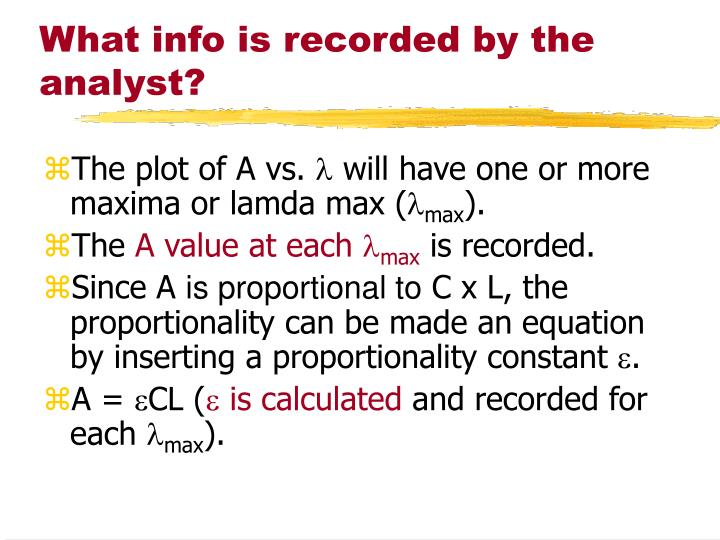 What info is recorded by the analyst?