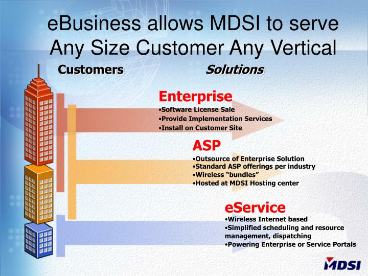 eBusiness allows MDSI to serve Any Size Customer Any Vertical