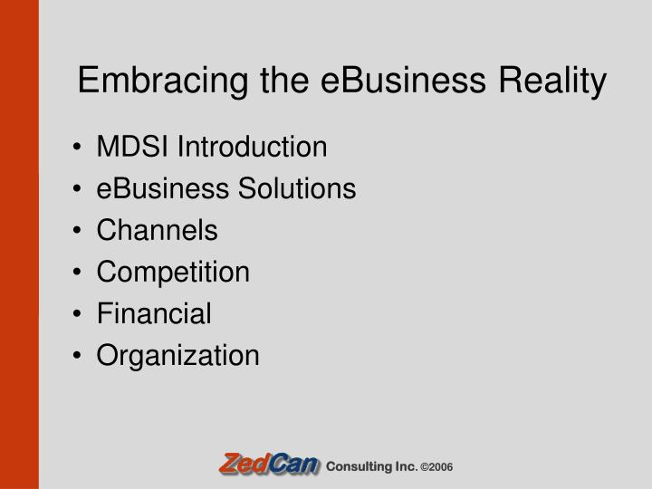 Embracing the eBusiness Reality