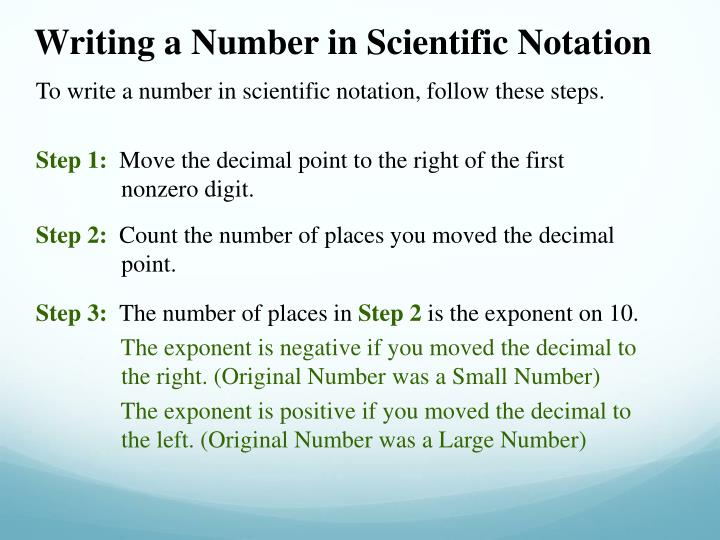 Writing a Number in Scientific Notation
