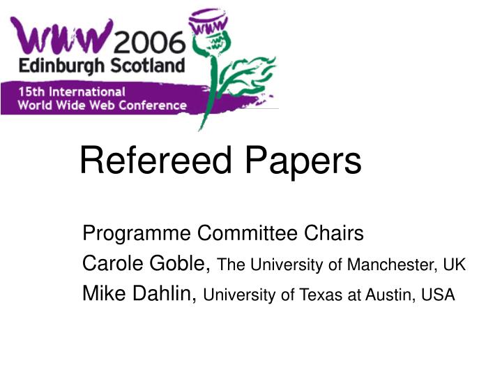 Refereed papers