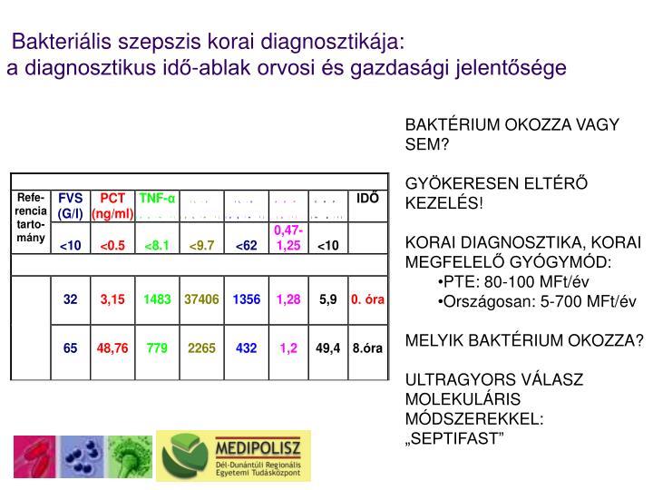 Bakteriális szepszis korai diagnosztikája: