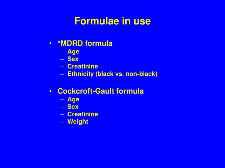 Formulae in use