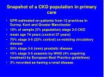 snapshot of a ckd population in primary care