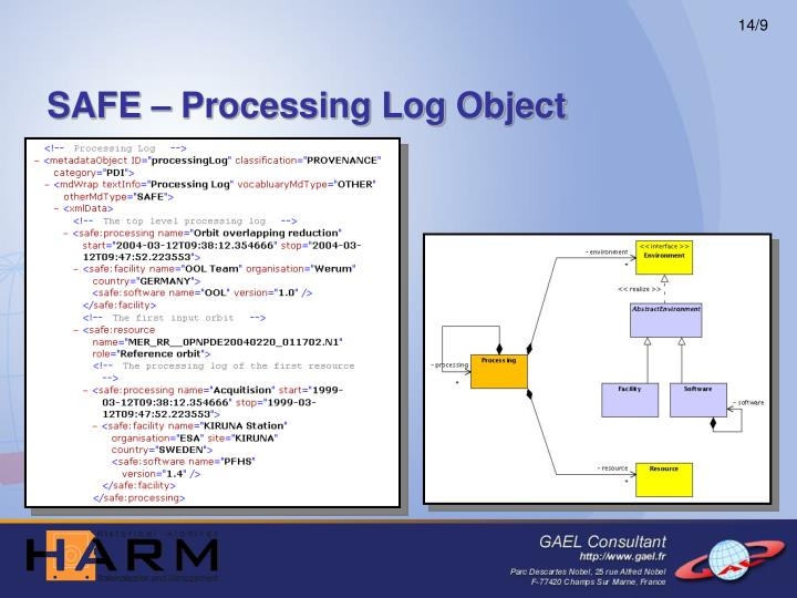 SAFE – Processing Log Object