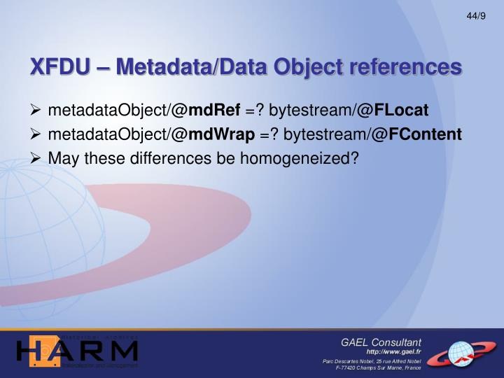 XFDU – Metadata/Data Object references