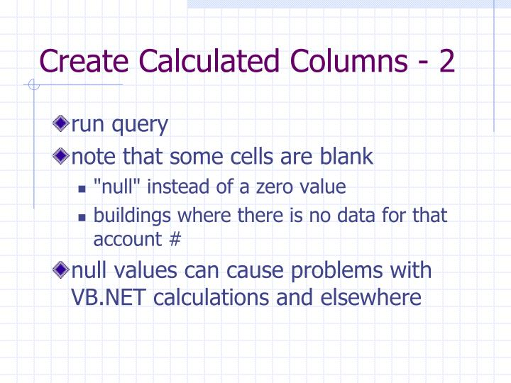 Create Calculated Columns - 2