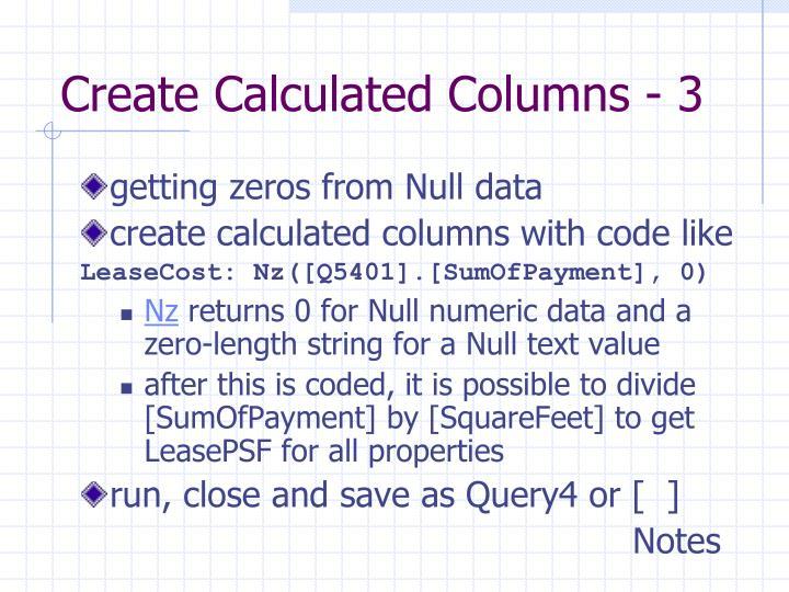 Create Calculated Columns - 3