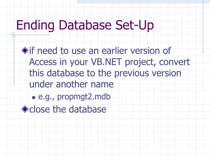 Ending Database Set-Up