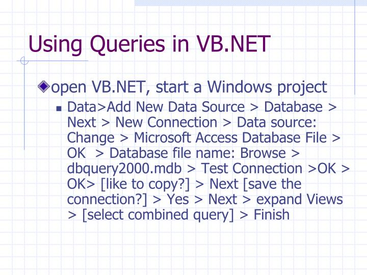 Using Queries in VB.NET