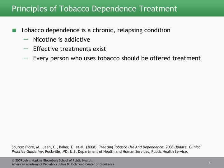 Principles of Tobacco Dependence Treatment