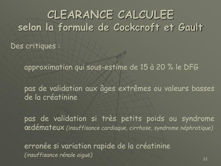 CLEARANCE CALCULEE