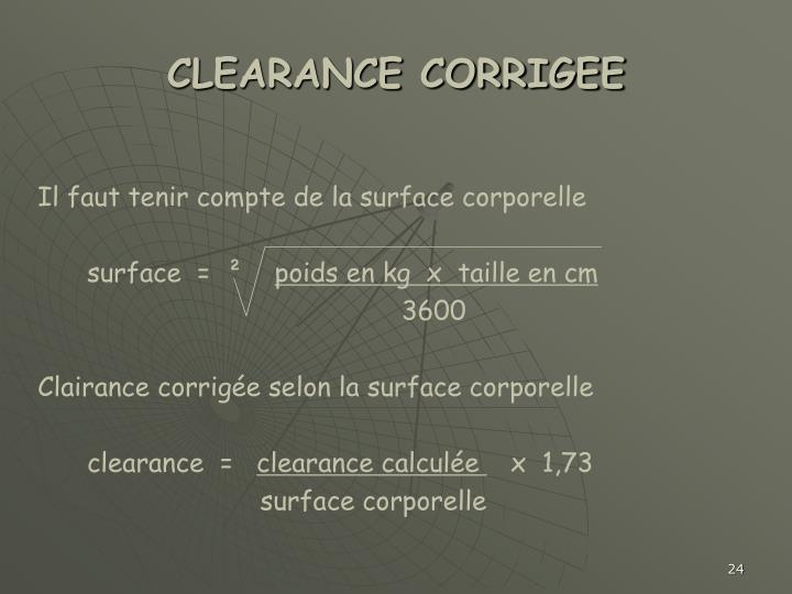 CLEARANCE CORRIGEE