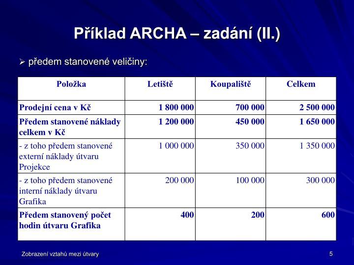 Příklad ARCHA – zadání (II.)