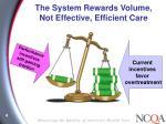 the system rewards volume not effective efficient care