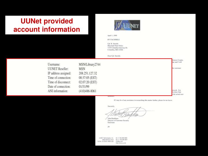 UUNet provided account information