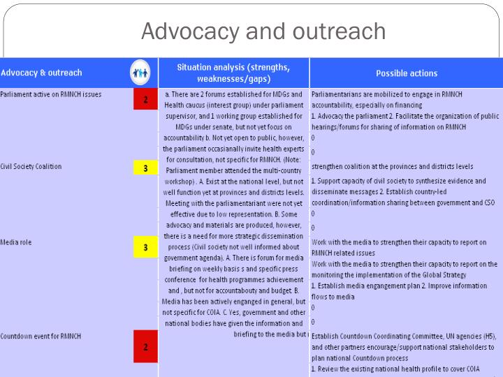Advocacy and outreach