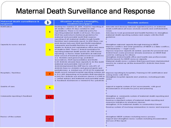 Maternal Death Surveillance and Response
