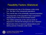 feasibility factors statistical