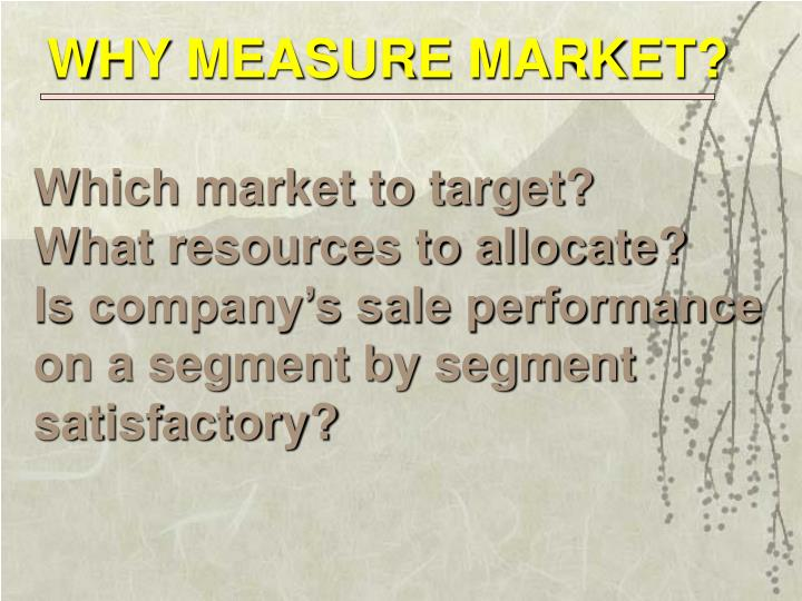 WHY MEASURE MARKET?