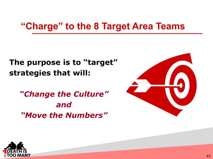 """""""Charge"""" to the 8 Target Area Teams"""