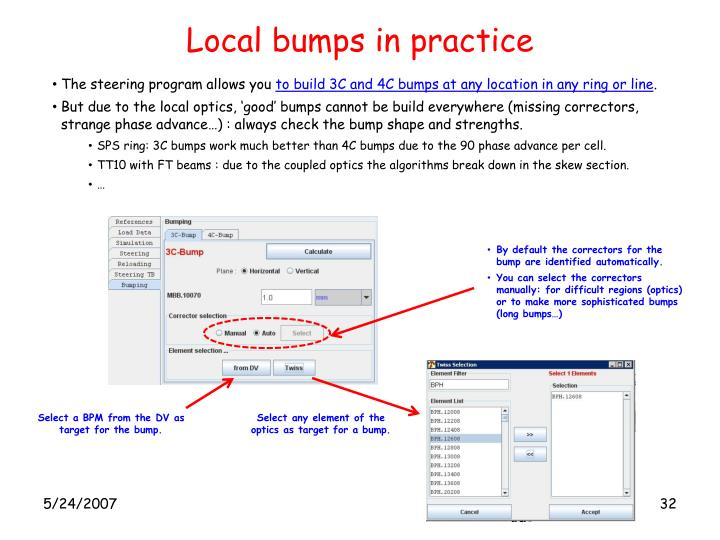 Local bumps in practice