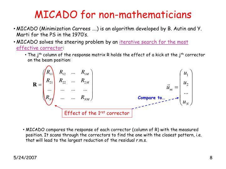 MICADO for non-mathematicians