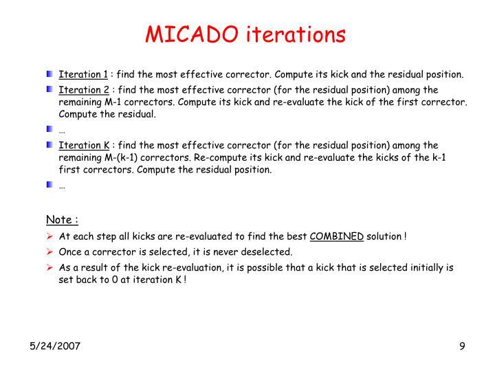 MICADO iterations