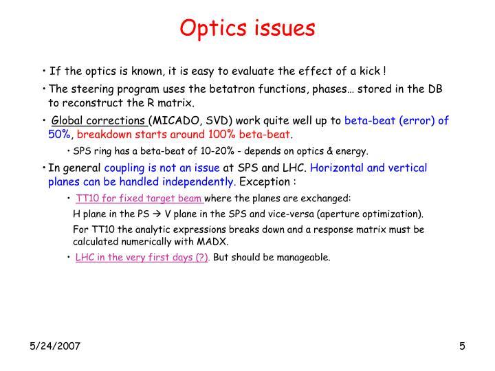 Optics issues