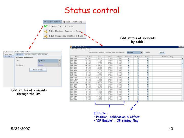 Status control
