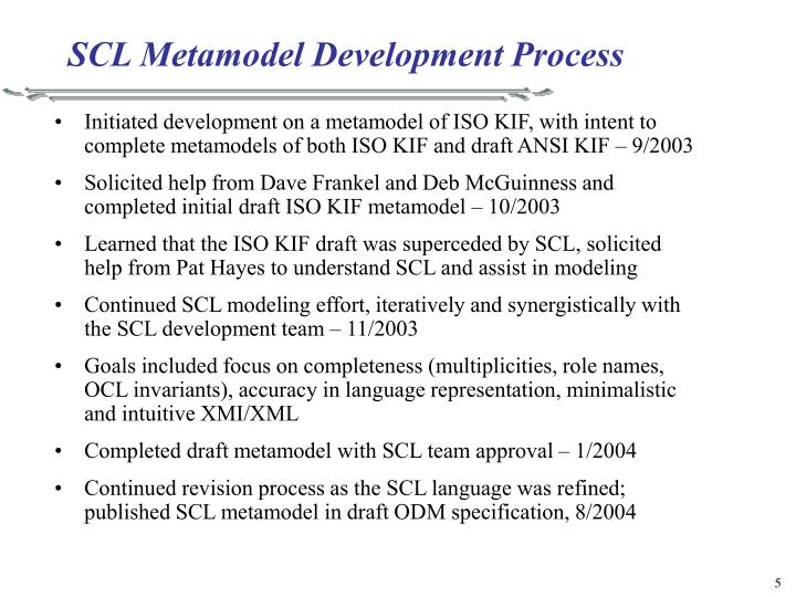 SCL Metamodel Development Process
