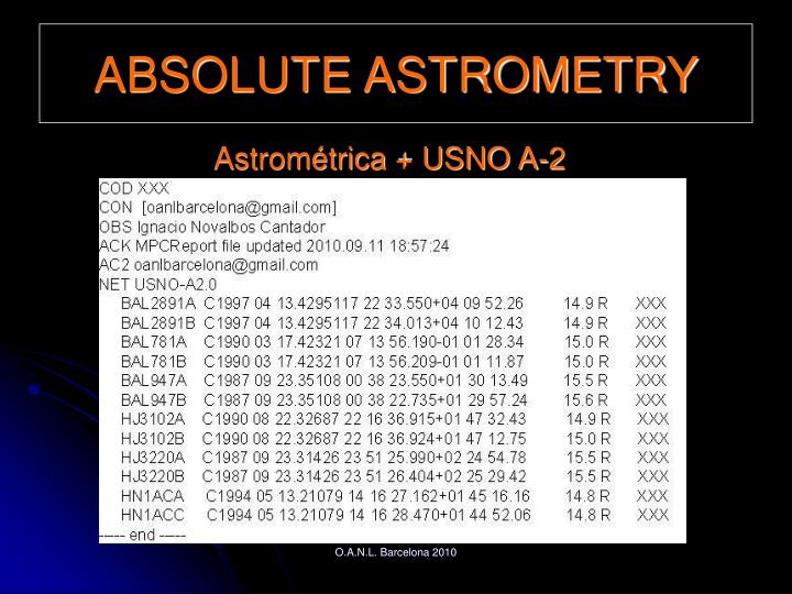 ABSOLUTE ASTROMETRY