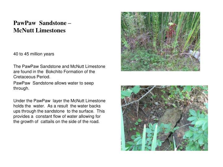 PawPaw  Sandstone – McNutt Limestones