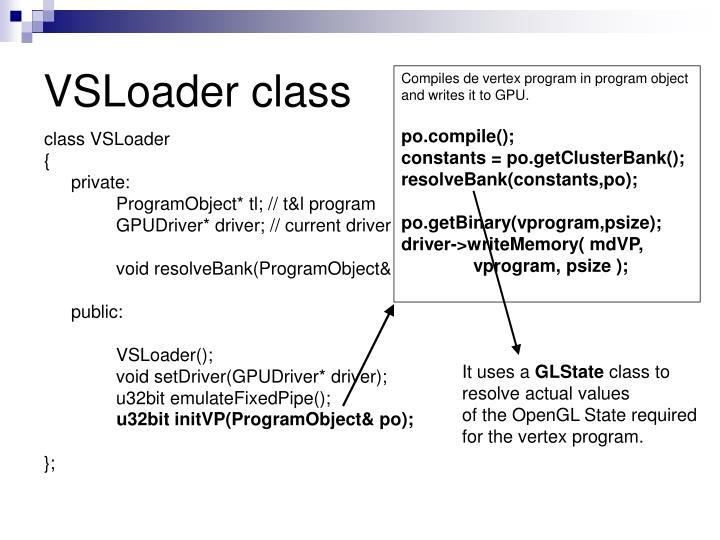 Compiles de vertex program in program object and writes it to GPU.