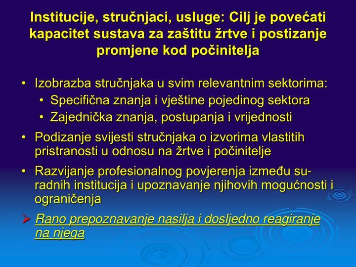 Institucije, stručnjaci, usluge: Cilj je povećati kapacitet sustava za zaštitu žrtve i postizanje promjene kod počinitelja