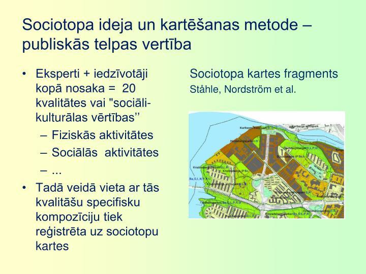 Sociotopa ideja un kartēšanas metode – publiskās telpas vertība