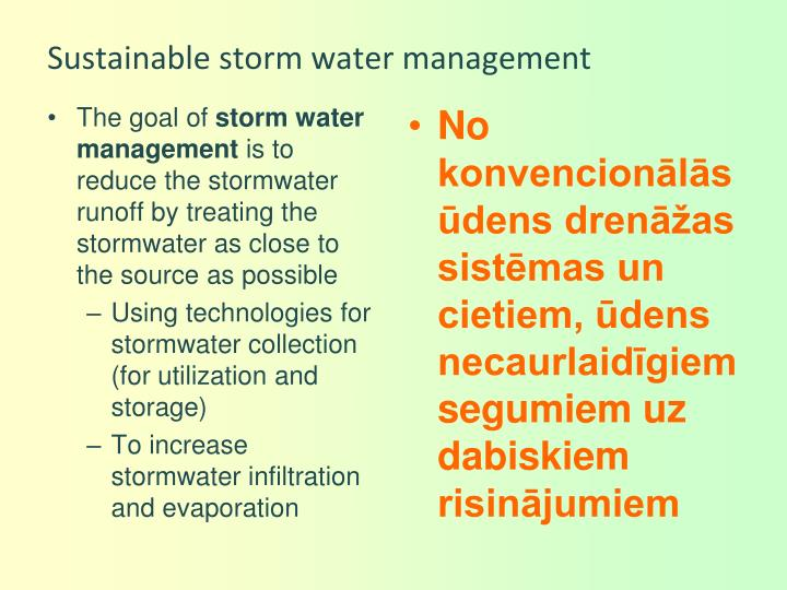 Sustainable storm water management