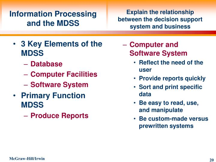 3 Key Elements of the MDSS